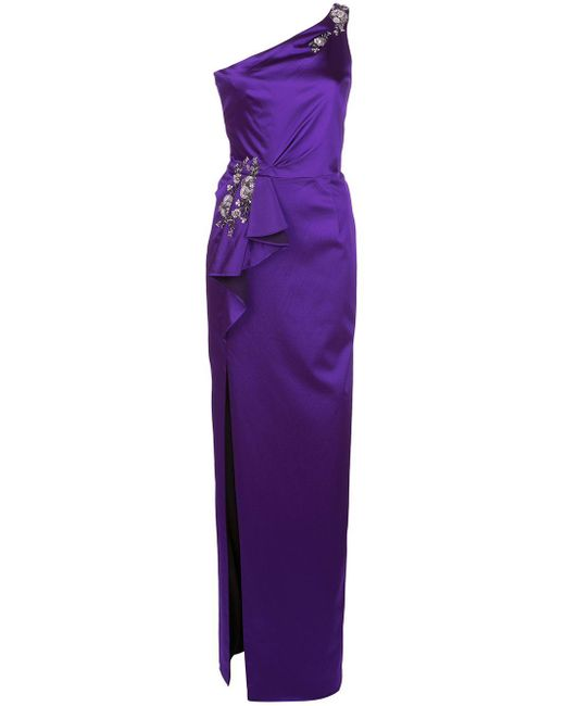 Marchesa notte ワンショルダー ドレス Purple