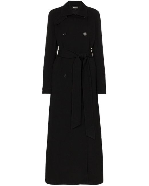 Ann Demeulemeester Black Double-breasted Belted Trench Coat