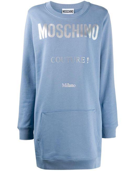 Moschino ロゴ スウェットワンピース Blue