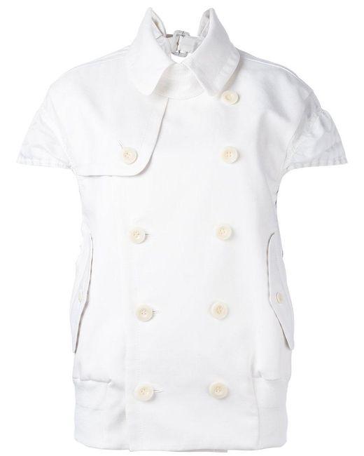 Sacai   White Cap Sleeved Jacket   Lyst