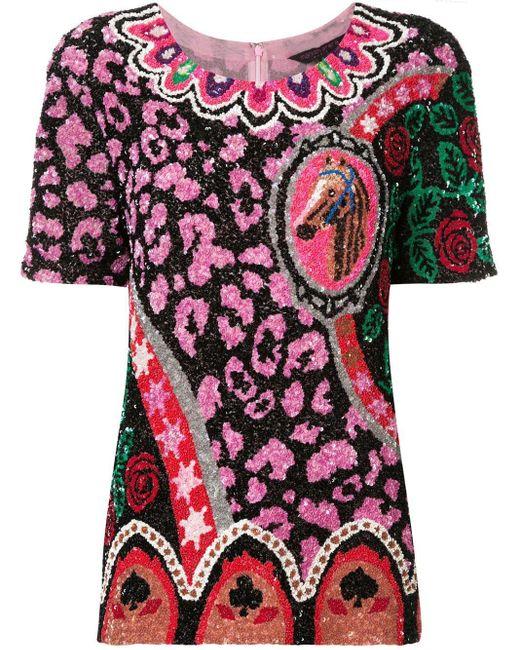 Top brodé de sequins Manish Arora en coloris Multicolor