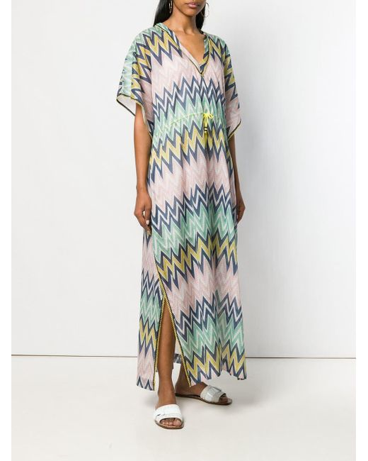 3f1fa5a485e ... M Missoni - Green Chevron Printed Maxi Dress - Lyst ...