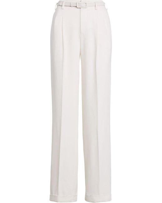 Pantalones rectos de talle alto Ralph Lauren Collection de color White