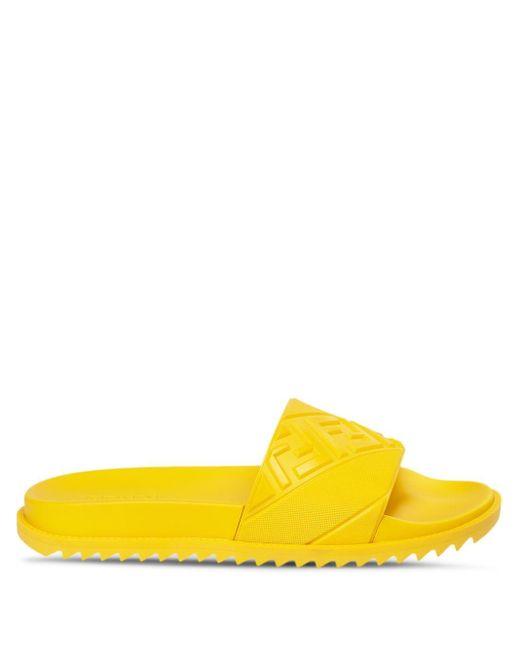 メンズ Fendi エンボスロゴ サンダル Yellow