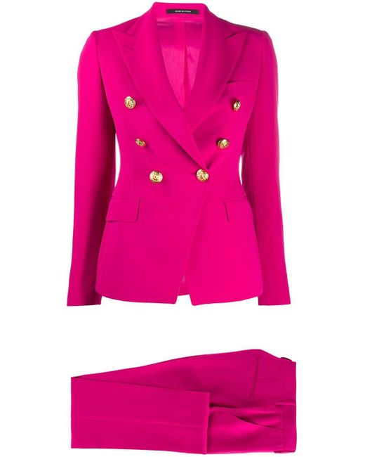 Tagliatore Pink Double-breasted Trouser Suit