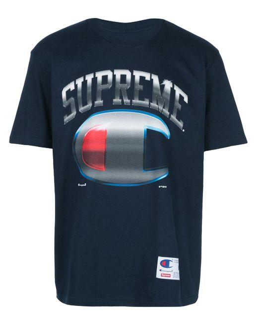 メンズ Supreme Champion Chrome Ss Tシャツ Black