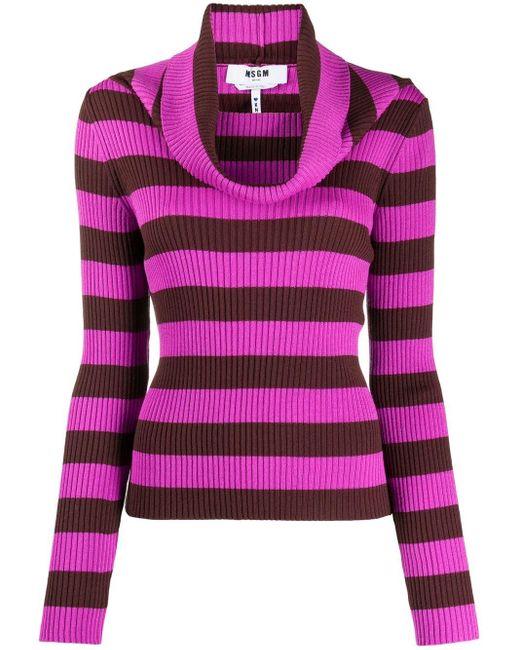 Джемпер В Полоску С Воротником-хомут MSGM, цвет: Pink