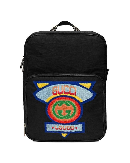 198509d49 Medium backpack with '80s patch Gucci de hombre de color Negro - Lyst