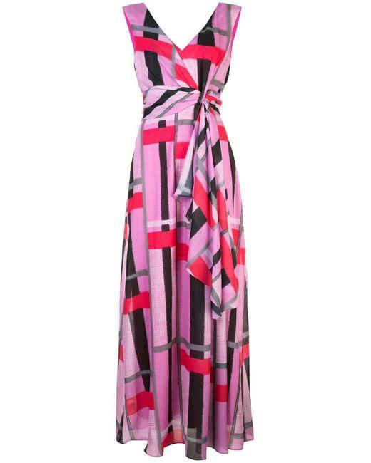 Vestito lungo a righe di Josie Natori in Pink