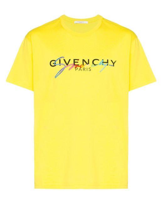 メンズ Givenchy ダブルロゴ Tシャツ Yellow