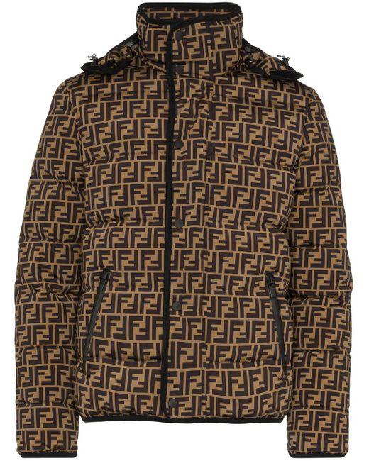 Chaqueta acolchada con logo FF Fendi de hombre de color Brown
