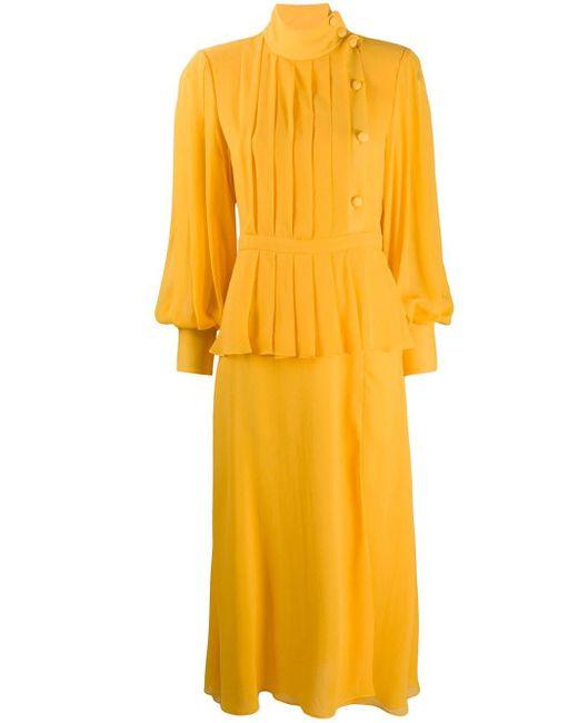 Alessandra Rich プリーツ レイヤードドレス Yellow
