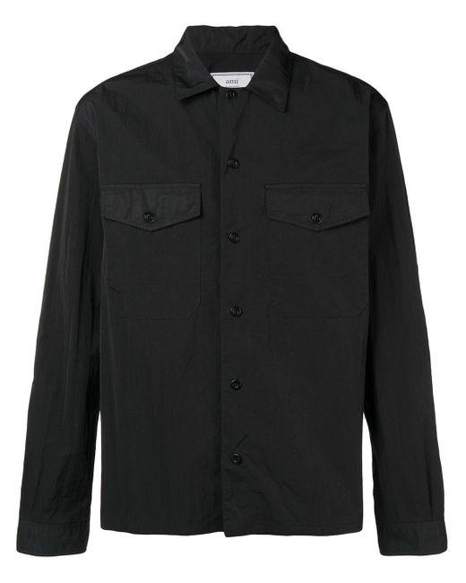 メンズ AMI キャンプカラー オーバーシャツ Black