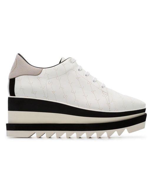 362523e42e8 Lyst - Stella McCartney White Elyse 80 Logo Flatform Brogues in White