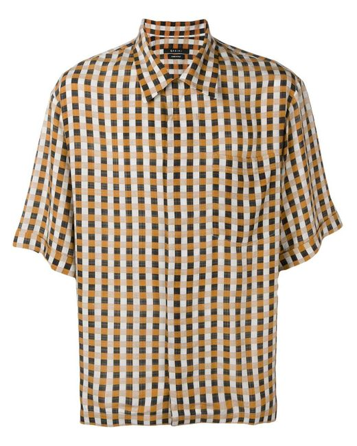 Qasimi Orange Check Print Shirt for men