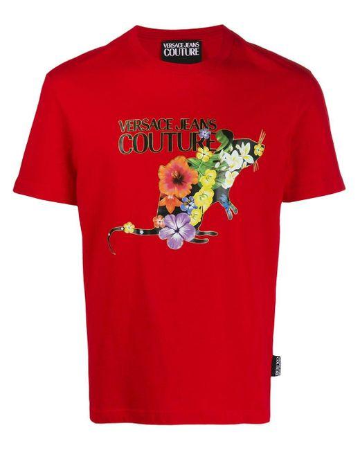 メンズ Versace Jeans プリント Tシャツ Red
