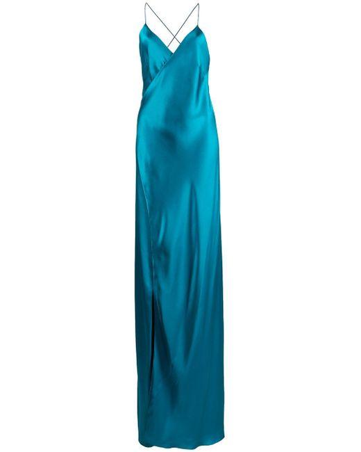 Michelle Mason クロスストラップ ラップドレス Blue