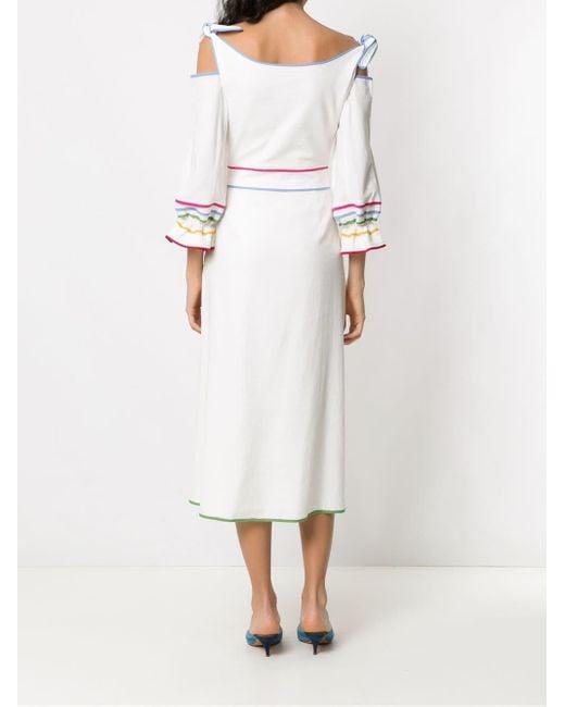 Framed Rainbow ミディドレス White
