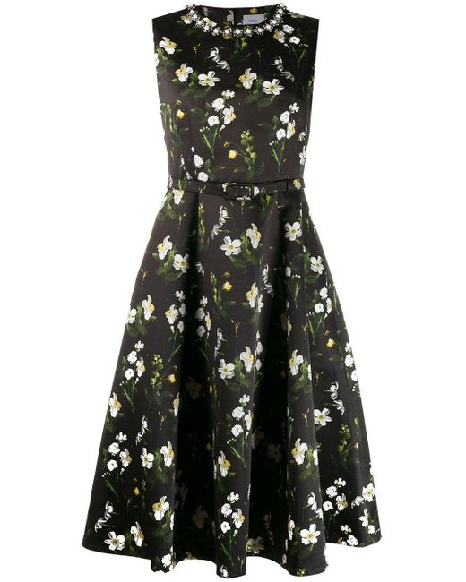 Robe longue à fleurs Erdem en coloris Black