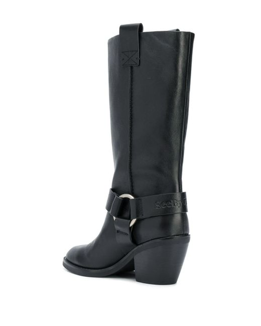 See By Chloé Black Mid-calf Buckled Boots