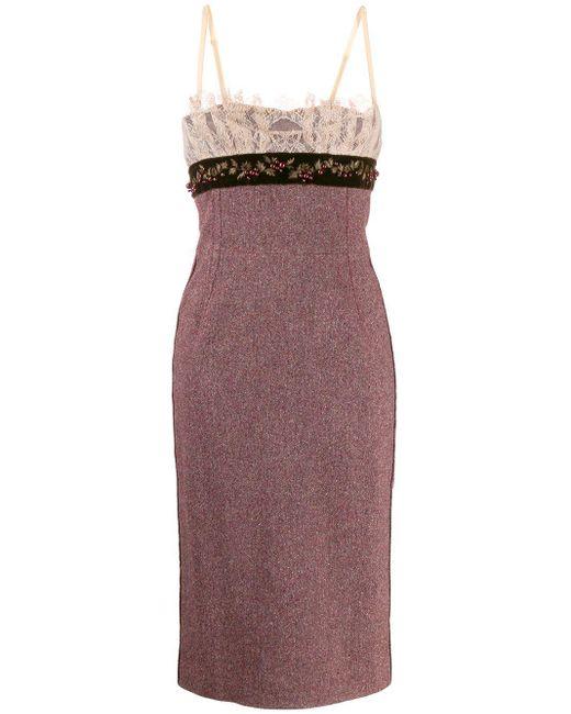 Dolce & Gabbana レーストリム ドレス Brown