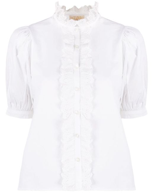 byTiMo Blusa de popelina con volantes en el cuello de mujer de color blanco