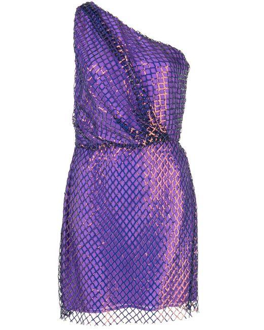 Michelle Mason ワンショルダー ミニドレス Purple