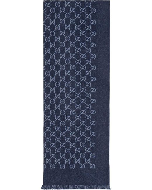 Bufanda de lana de jacquard con GG Gucci de hombre de color Blue