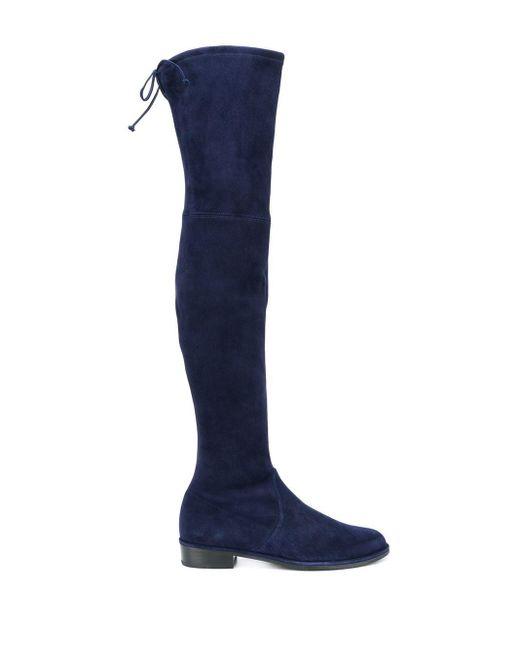 Ботфорты На Каблуке Stuart Weitzman, цвет: Blue