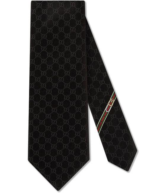 メンズ Gucci グッチGGパターン シルクタイ Black