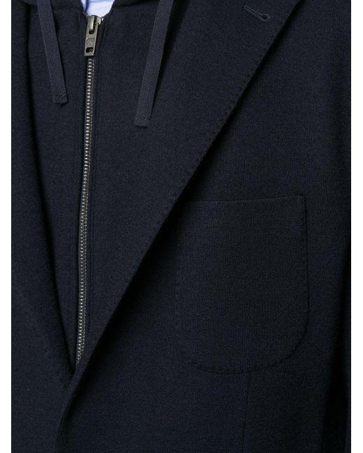 メンズ Fay フーデッド シングルジャケット Blue