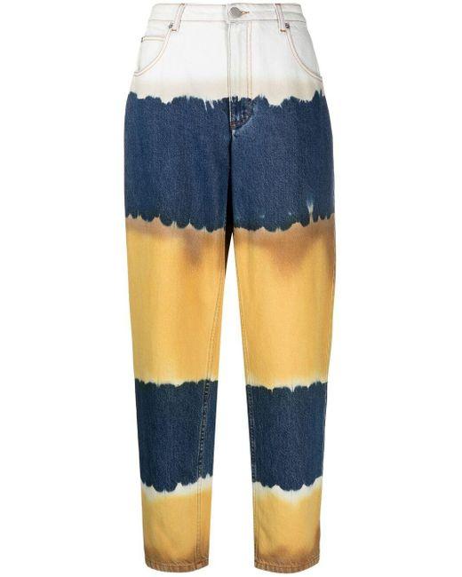 Джинсы В Стиле Колор-блок С Завышенной Талией Alberta Ferretti, цвет: Blue