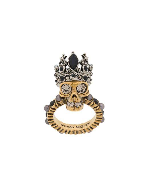 Alexander McQueen Queen Skull リング Metallic