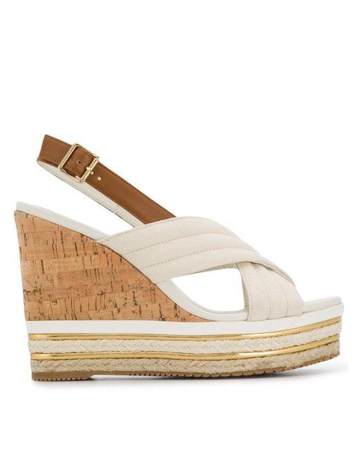 Sandalo in tela con zeppa in sughero e corda di Hogan in Bianco - Lyst