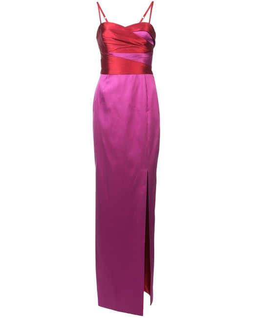 Marchesa notte Colour-block Column Gown in het Pink