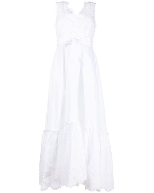 P.A.R.O.S.H. White Cosan Broderie Anglais Dress