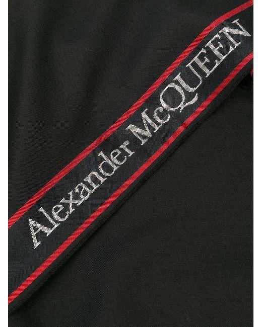 メンズ Alexander McQueen ロゴトリム フレイドスカーフ Black