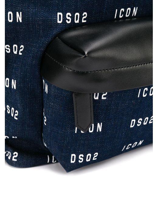 メンズ DSquared² ロゴプリント バックパック Blue