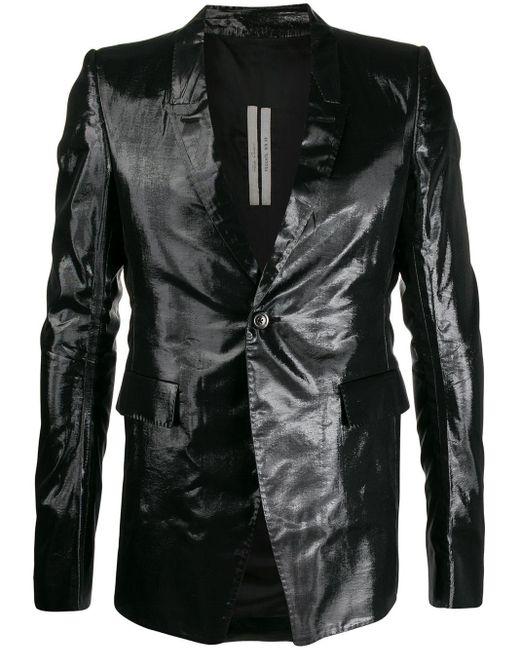 メンズ Rick Owens メタリック テーラードジャケット Black