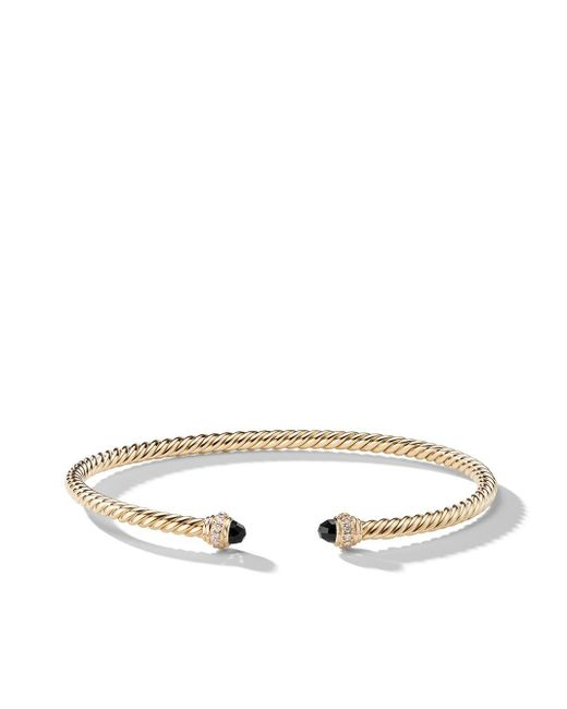David Yurman Cable Spira ダイヤモンド&オニキス カフブレスレット 18kイエローゴールド Metallic