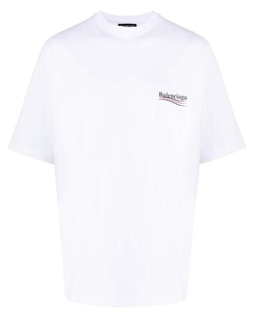 メンズ Balenciaga ロゴ Tシャツ White