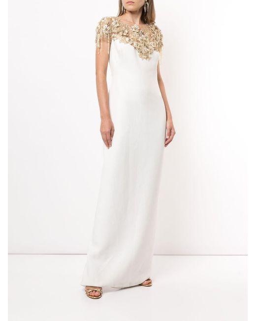 Marchesa ネックパネル ドレス White