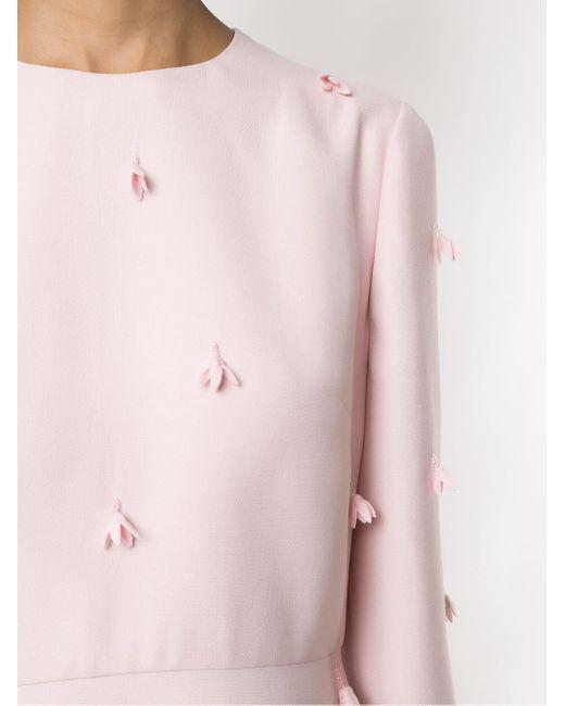 Valentino フローラル アップリケ ドレス Pink