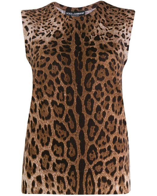 Canotta leopardata di Dolce & Gabbana in Brown