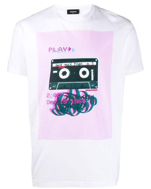 メンズ DSquared² プリント Tシャツ White