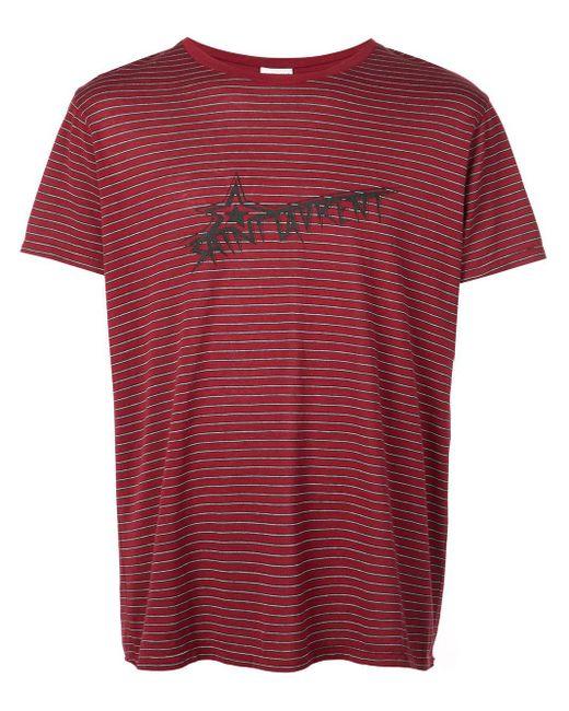 メンズ Saint Laurent Sl スター Tシャツ Red