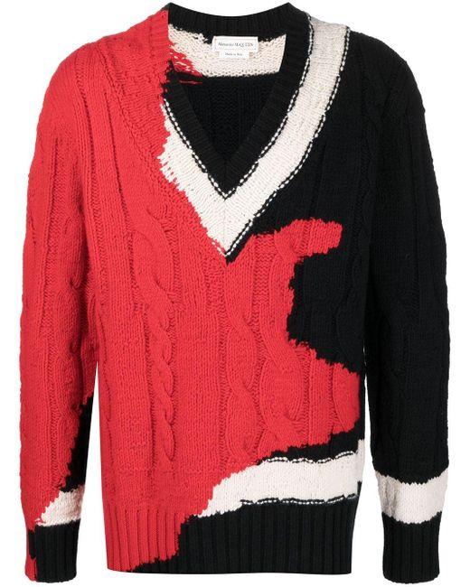 Джемпер Ink Bleeding Alexander McQueen для него, цвет: Red
