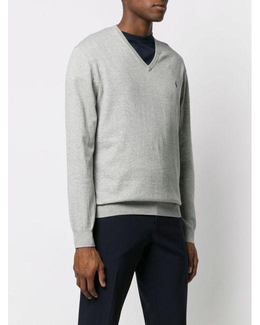 メンズ Polo Ralph Lauren ロゴ Vネック セーター Gray