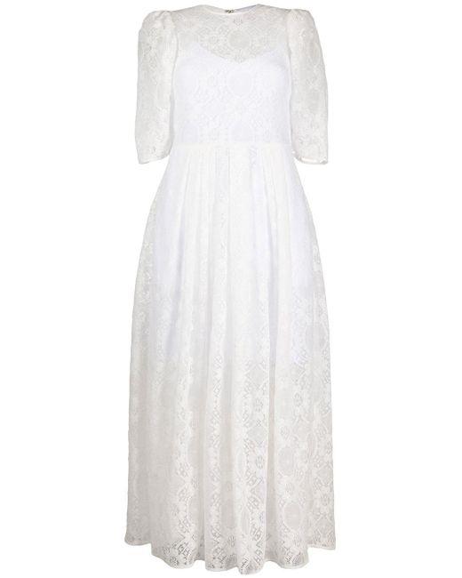 MSGM パフスリーブ レースドレス White