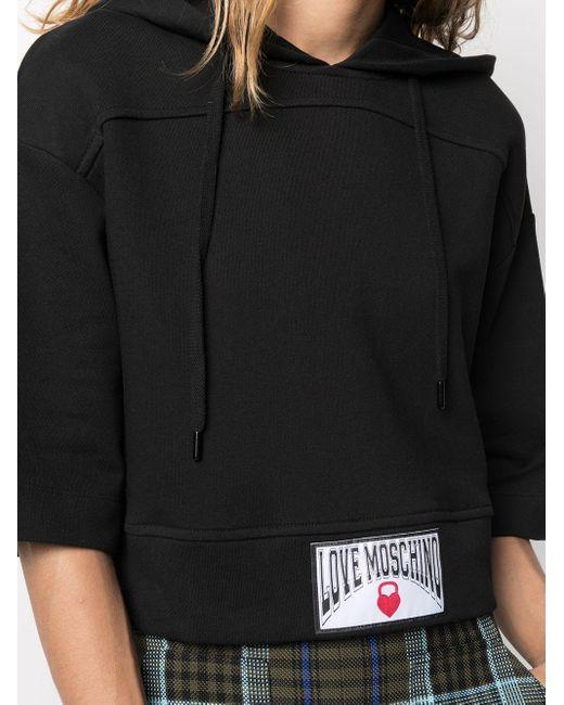 Толстовка С Капюшоном И Укороченными Рукавами Love Moschino, цвет: Black